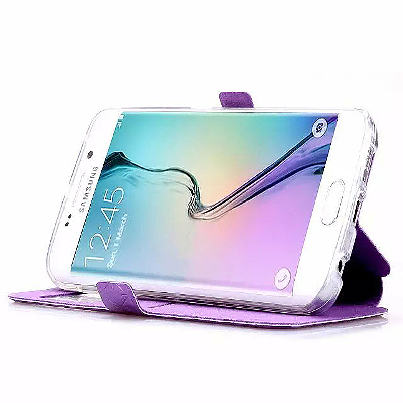 Opening Window Magnetic Stand Flip Leather Case Cover for Samsung S6 Edge Plus - Purple