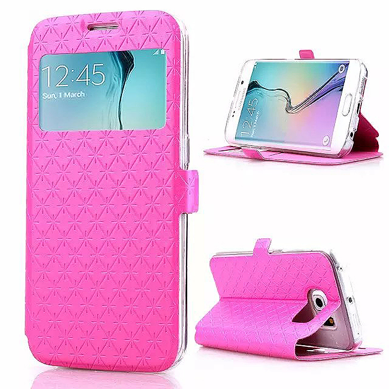 Opening Window Magnetic Stand Flip Leather Case Cover for Samsung S6 Edge Plus - Rose Red