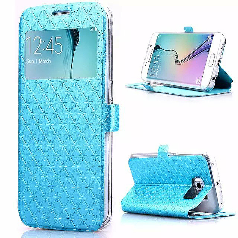Opening Window Magnetic Stand Flip Leather Case Cover for Samsung S6 Edge Plus - Green