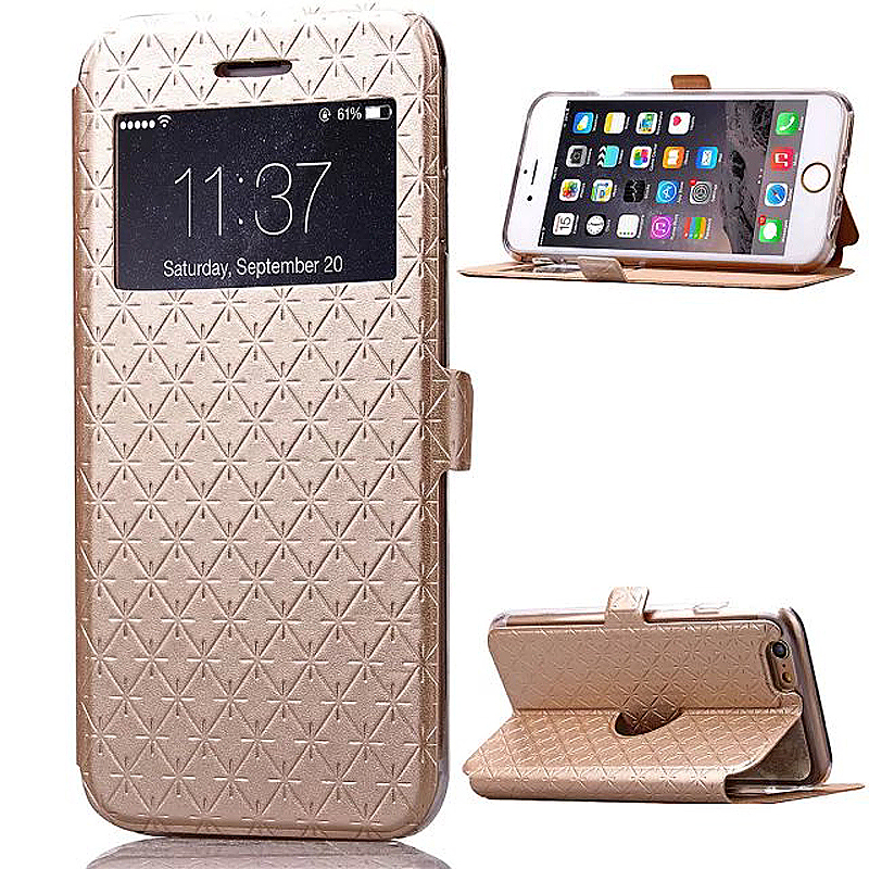Opening Window Magnetic Stand Flip Leather Case Cover for iPhone 6 6S - Gold
