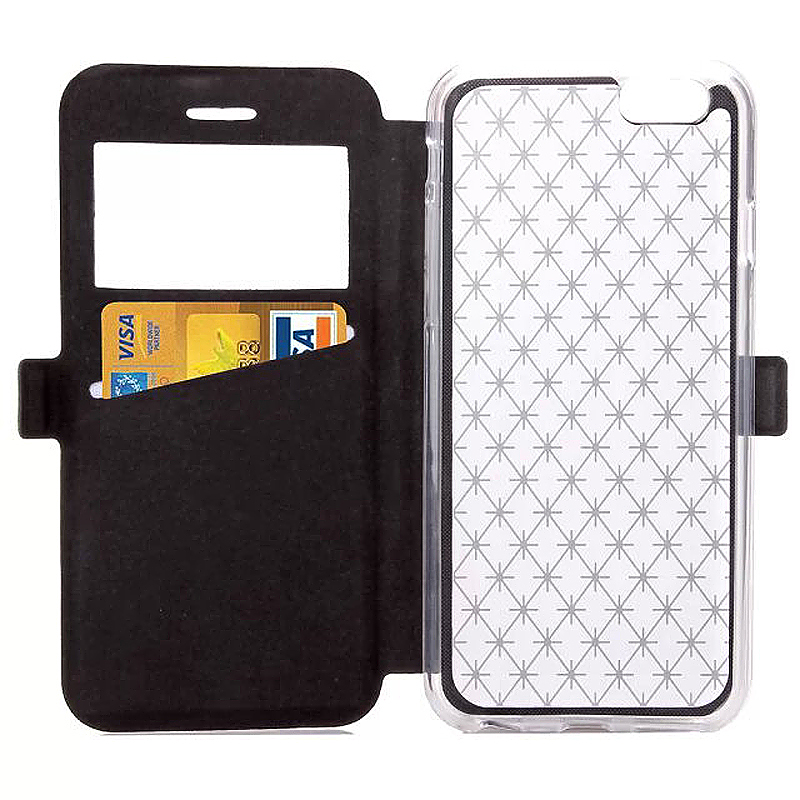 Opening Window Magnetic Stand Flip Leather Case Cover for iPhone 6S Plus - Black
