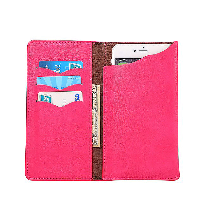 5.7 Inch PU Wallet Card Pouch Case Cover with Pockets - Rose Red