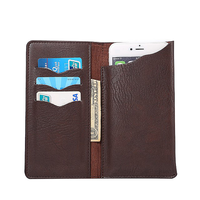 5.3 Inch PU Wallet Card Pouch Case Cover with Pockets - Brown