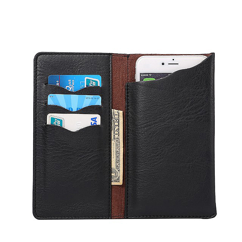 4.8 Inch PU Wallet Card Pouch Case Cover with Pockets - Black