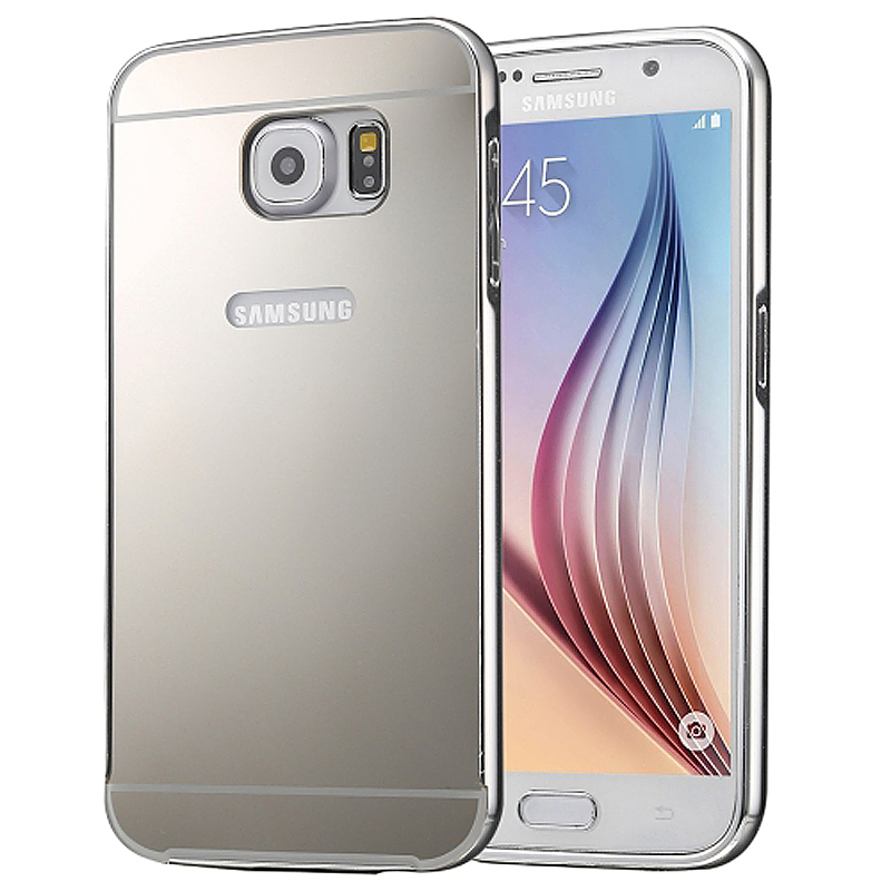 Aluminum Alloy Bumper Border Mirror Backplate Case for Samsung Galaxy S7 - Silver