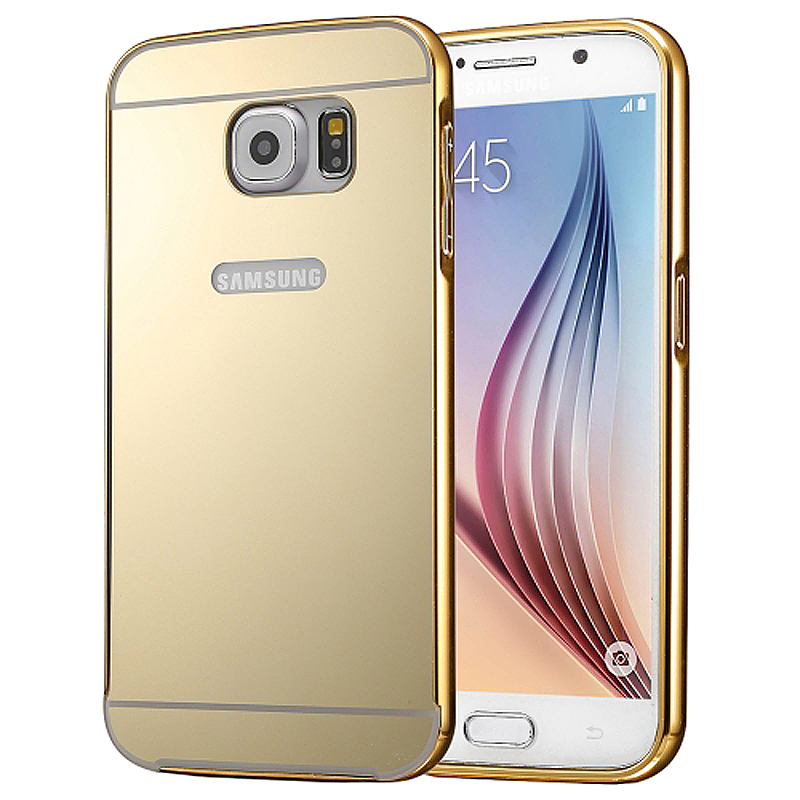Aluminum Alloy Bumper Border Mirror Backplate Case for Samsung Galaxy S7 Edge - Gold