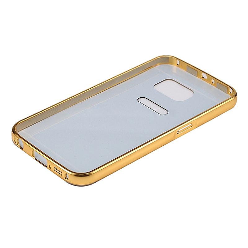 Aluminum Alloy Bumper Border Mirror Backplate Case for Samsung Galaxy S7 Edge - Gold