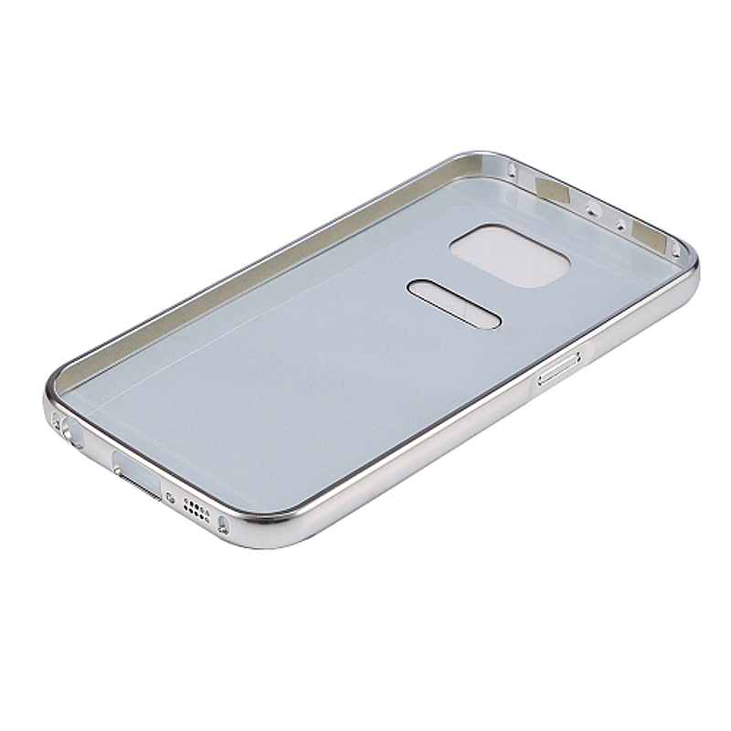 Aluminum Alloy Bumper Border Mirror Backplate Case for Samsung Galaxy S7 Edge - Silver