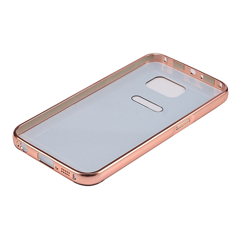 Aluminum Alloy Bumper Border Mirror Backplate Case for Samsung Galaxy S7 Edge - Rose Gold