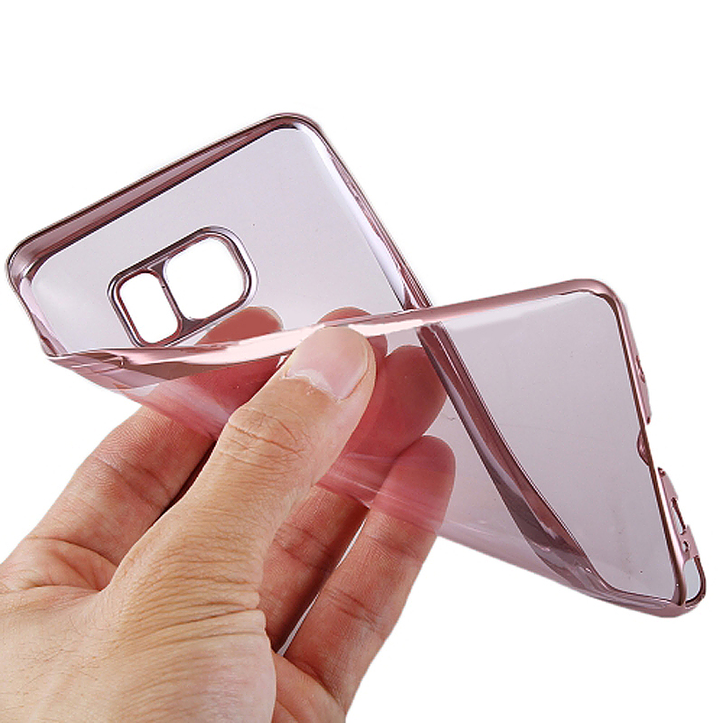 TPU Slim Soft Transparetn Skin Case with Electroplating Edge for Samsung S7 - Rose Red