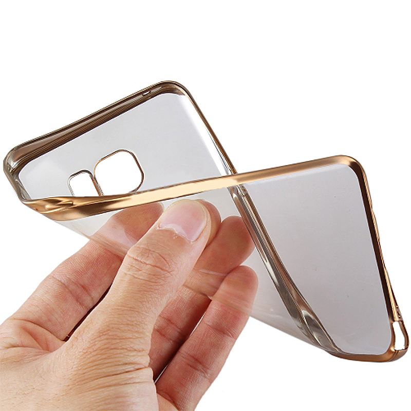 TPU Slim Soft Transparetn Skin Case with Electroplating Edge for Samsung S7 Edge - Gold