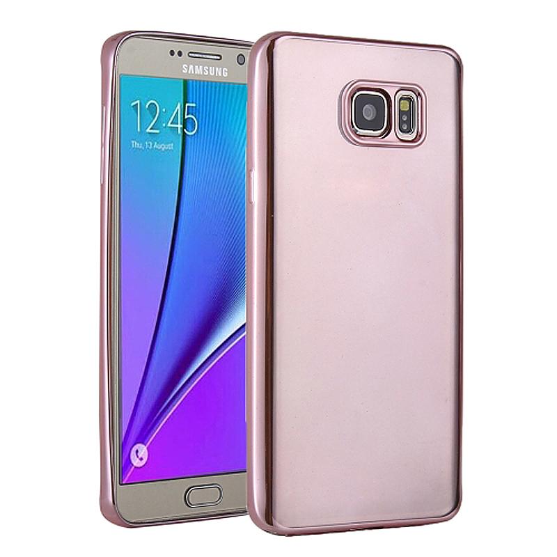 TPU Slim Soft Transparetn Skin Case with Electroplating Edge for Samsung S7 Edge - Rose Red