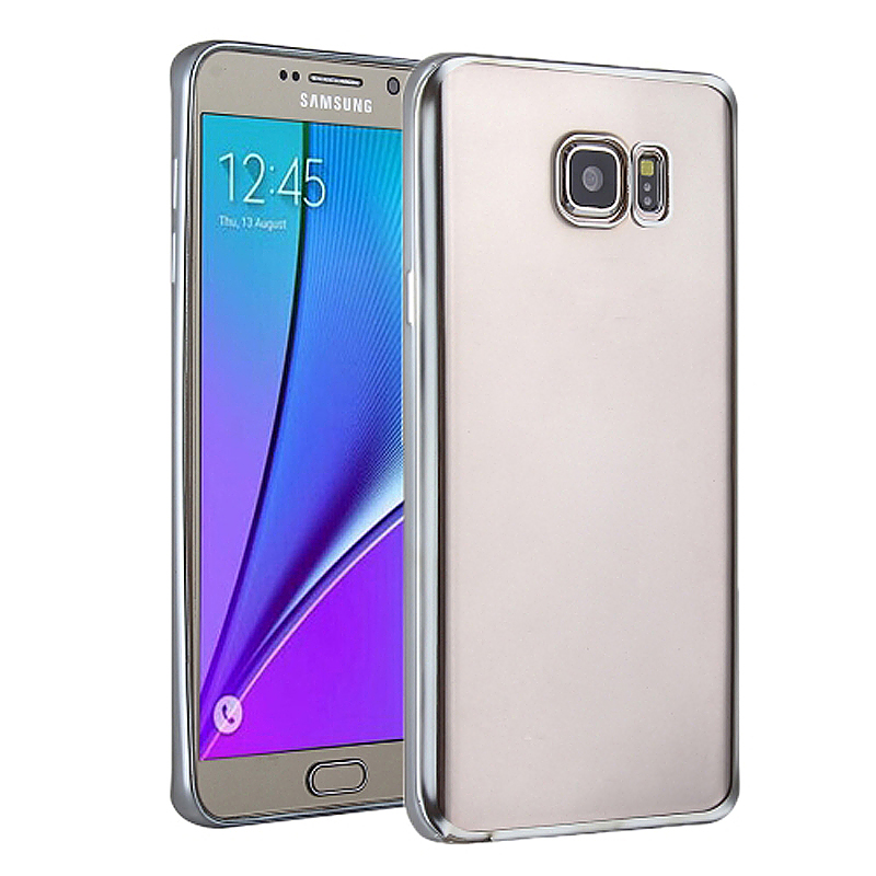 TPU Slim Soft Transparetn Skin Case with Electroplating Edge for Samsung S7 Edge - Silver