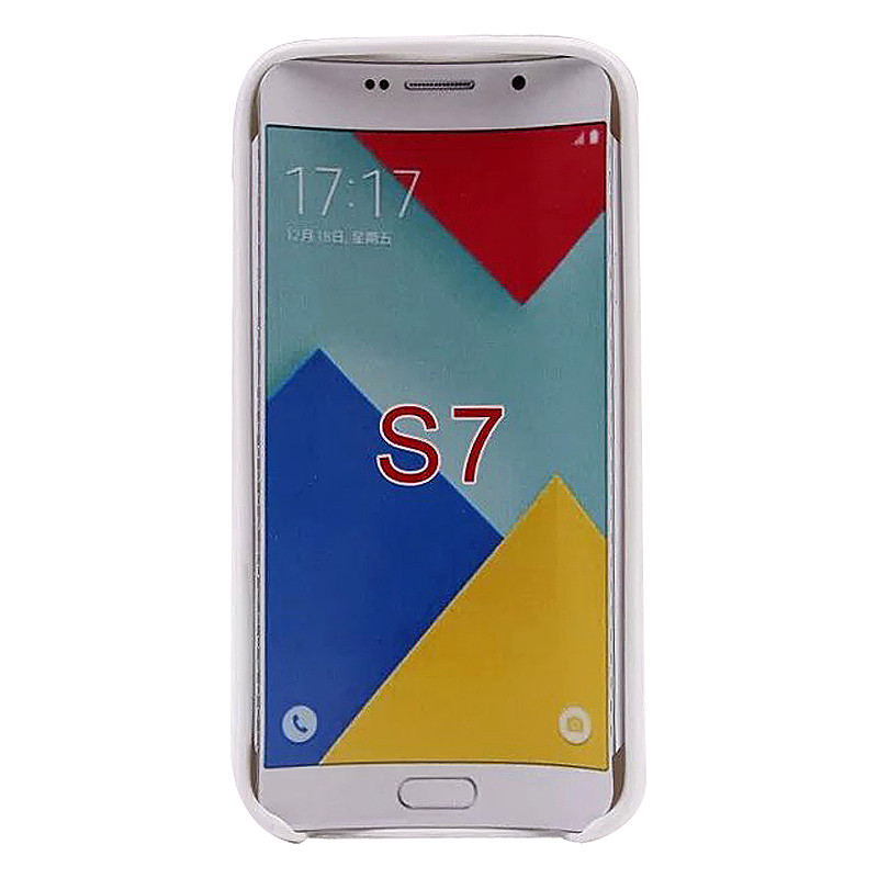 Double Line TPU Rubber Slim Soft Skin Case for Samsung S7 - White