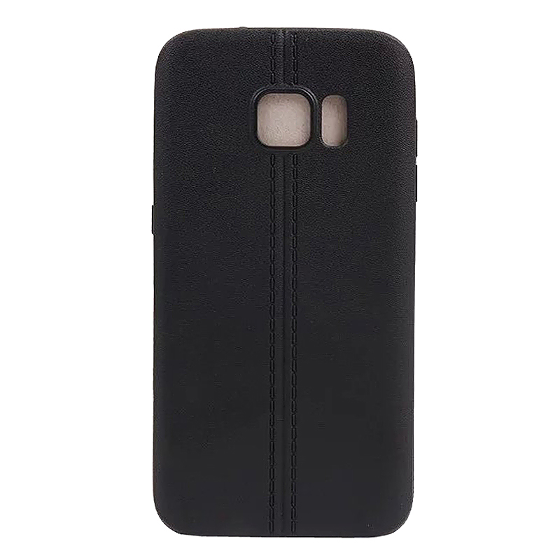 Double Line TPU Rubber Slim Soft Skin Case for Samsung S7 - Black