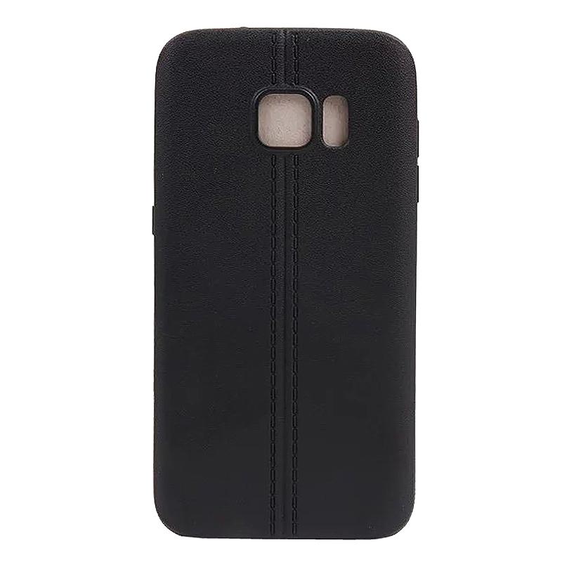 Double Line TPU Rubber Slim Soft Skin Case for Samsung S7 - Black