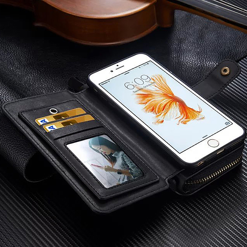 Premium Multifunctional Leather Zipped Portable Wallet Phone Case for iPhone 6 6S - Black