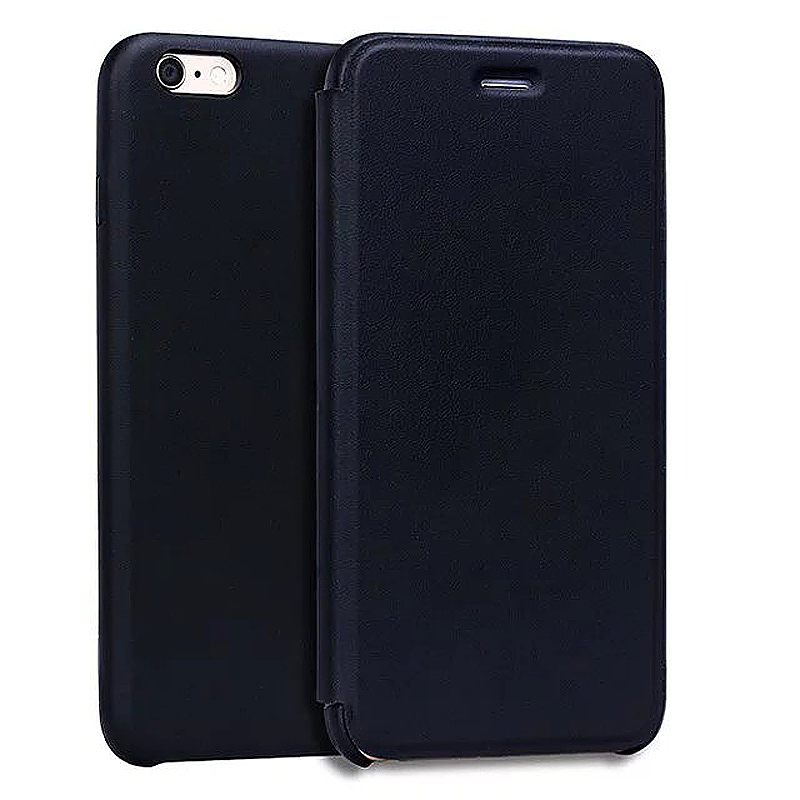 Not Original PU Leather Thin Flip Phone Case Cover Skin for Apple iPhone 6S - Black