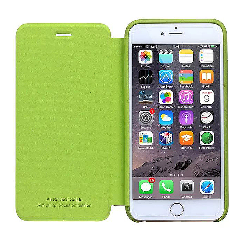 Not Original PU Leather Thin Flip Phone Case Cover Skin for Apple iPhone 6S - Green