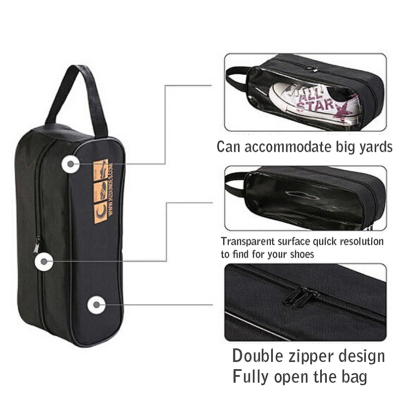 Waterproof Travel Sports Storage Organizer Shoes Carry Tote Bag Visible Pouch - Black