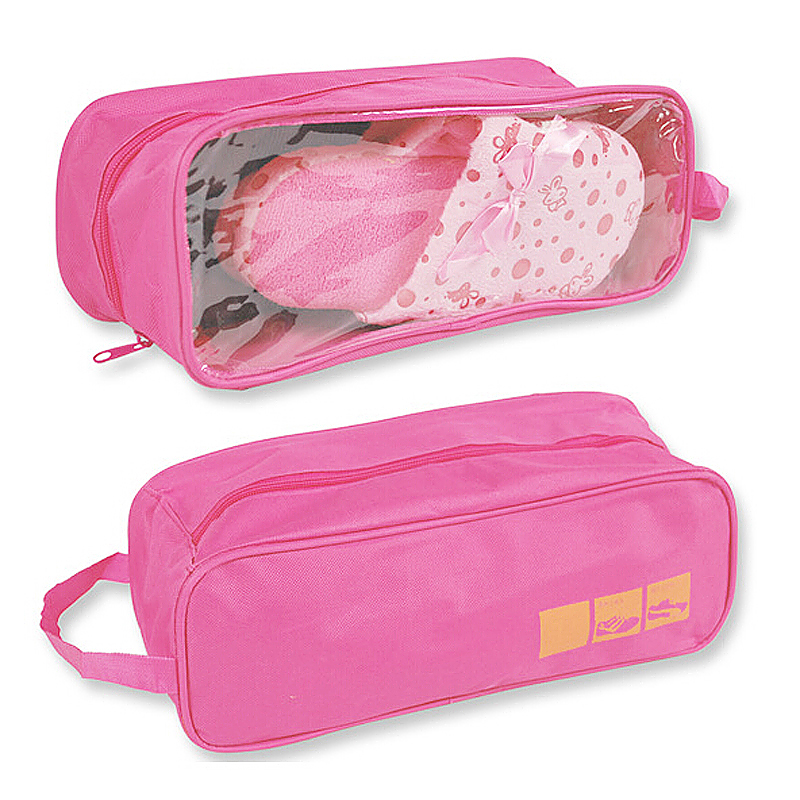 Waterproof Travel Sports Storage Organizer Shoes Carry Tote Bag Visible Pouch - Pink