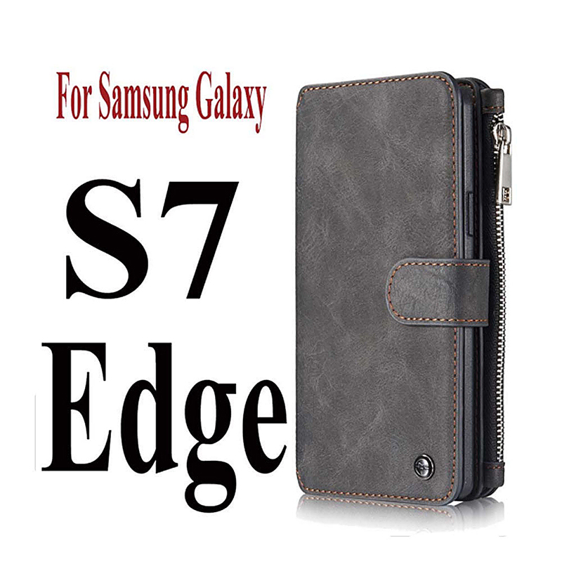 2-in-1 Genuine Leather Wallet Purse Flip Case Cover for Samsung S7 Edge - Black