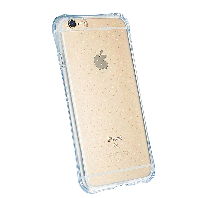 Slim Transparent TPU Case with Shockproof Particles Corner for iPhone 6 6S with Tempered Glass - Blue