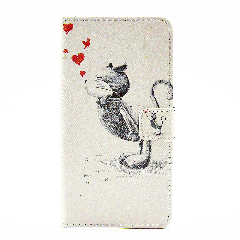Lovely Painted Stand  Flip Wallet Card Pockets Phone Case Cover for Samsung Note 5 - Kiss Cat
