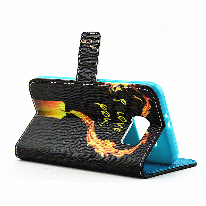 Lovely Painted Stand  Flip Wallet Card Pockets Phone Case Cover for Samsung S6 Edge Plus - Love
