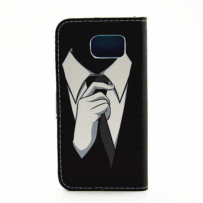 Lovely Painted Stand  Flip Wallet Card Pockets Phone Case Cover for Samsung S6 Edge Plus - Suit