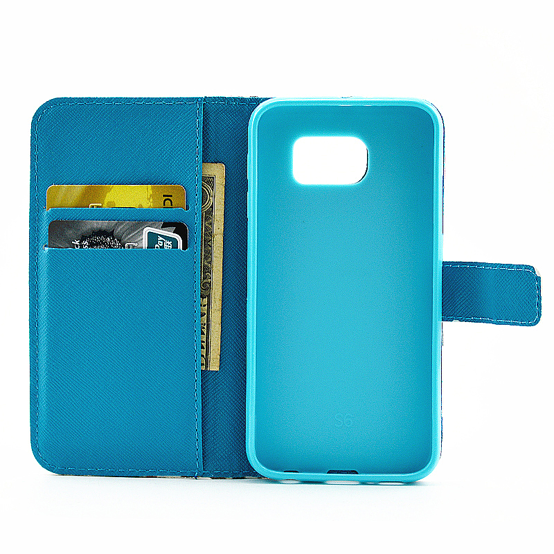 Lovely Painted Stand  Flip Wallet Card Pockets Phone Case Cover for Samsung S6 Edge Plus - Smilling Face