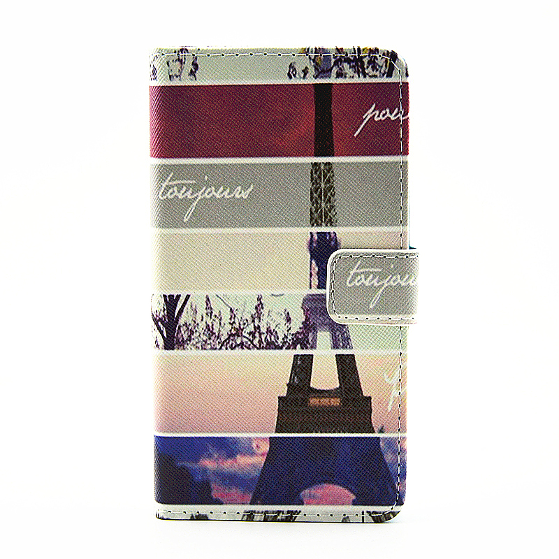 Lovely Painted Stand  Flip Wallet Card Pockets Phone Case Cover for Samsung A710 - Eiffel Tower