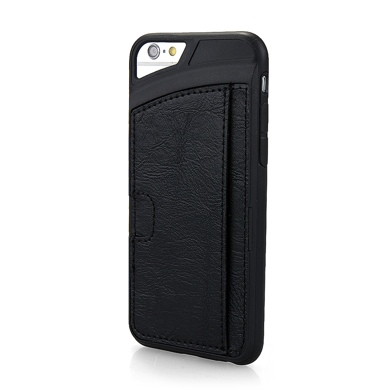 TPU PU Leather Card Holder Phone Back Cover Case for Apple iPhone 6S - Black
