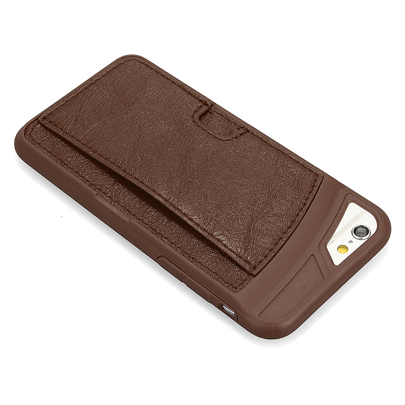TPU PU Leather Card Holder Phone Back Cover Case for Apple iPhone 6S - Coffee