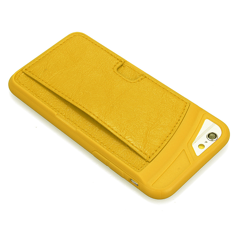 TPU PU Leather Card Holder Phone Back Cover Case for Apple iPhone 6S - Yellow