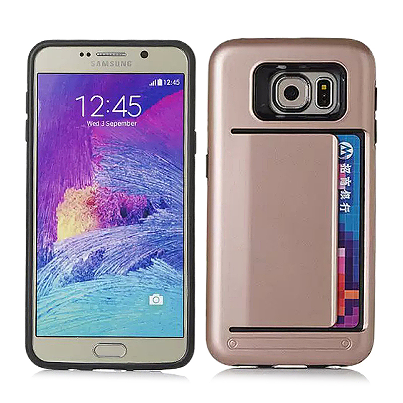 Fashion Protective Back Cover Case with Card Slot for Samsung Galaxy Note 5 - Golden