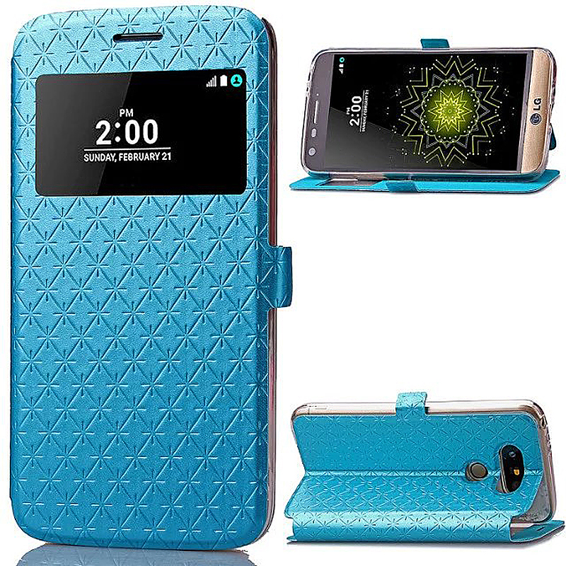 PU Flip Card Holder Stand Phone Case Cover with Window for LG G5 - Blue