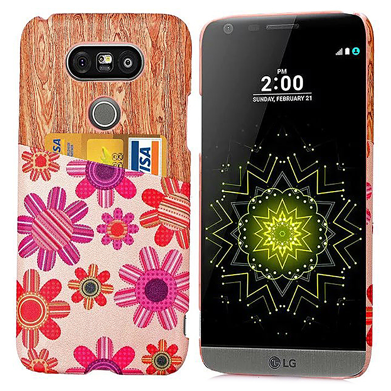 Fashion Phone Back Cover Case with Card Slot for LG G5 - Red Flower