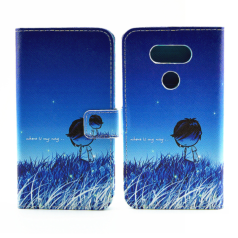 Painted  Stand Wallet Flip PU Leather Phone Case Cover Protector for LG G5 - Boy