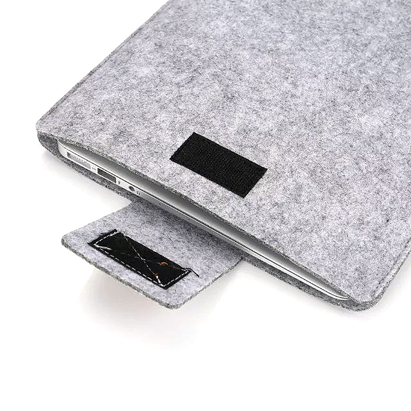 13 Inch Fashion Vertical Open Felt Sleeve Laptop Case Cover Bag for MacBook - Grey