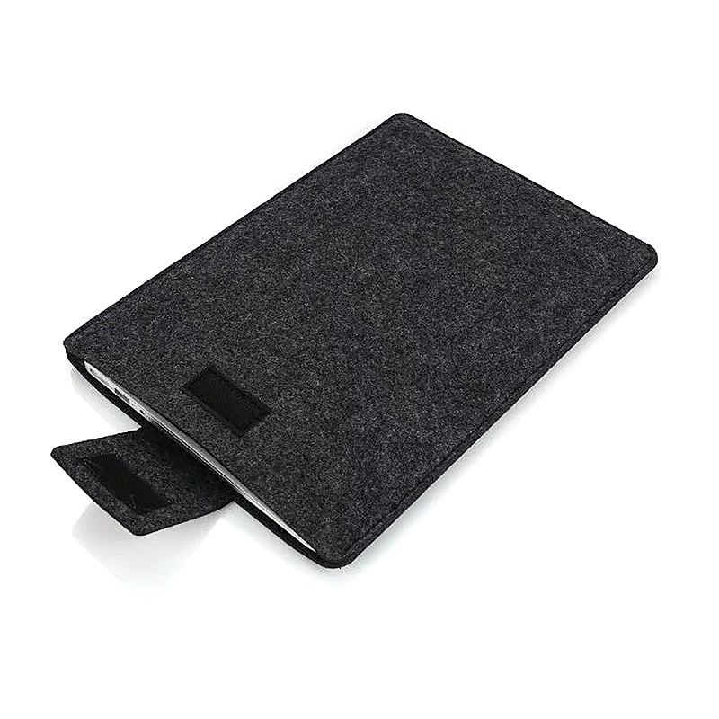 13 Inch Fashion Vertical Open Felt Sleeve Laptop Case Cover Bag for MacBook - Black