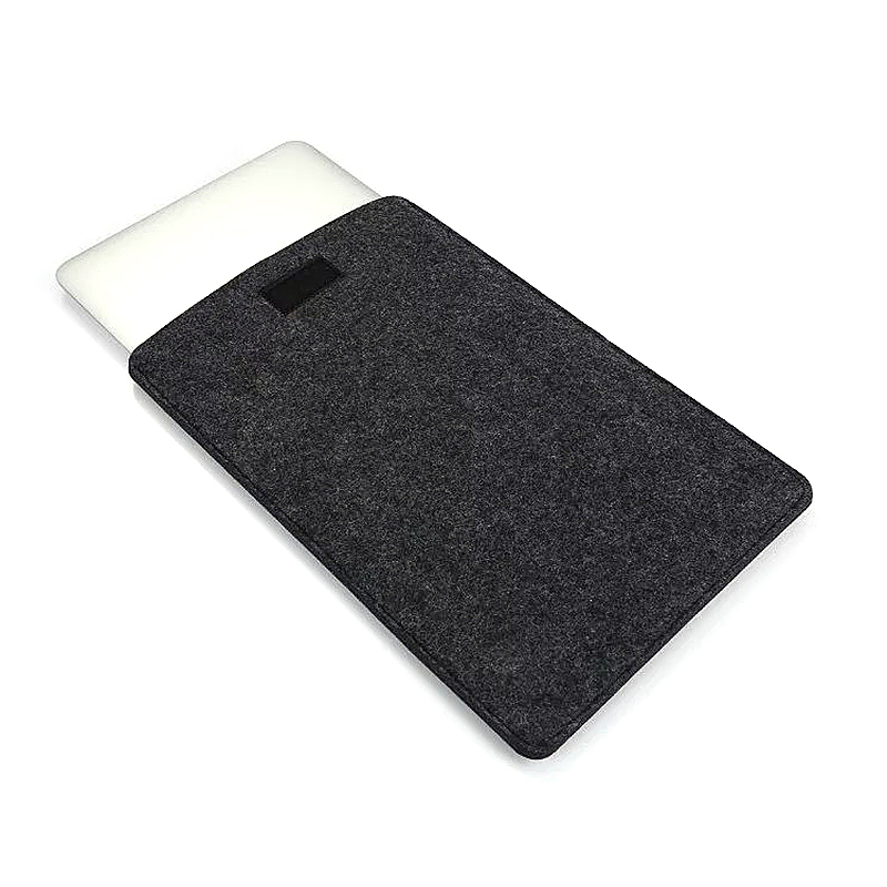 15 Inch Fashion Vertical Open Felt Sleeve Laptop Case Cover Bag for MacBook - Black