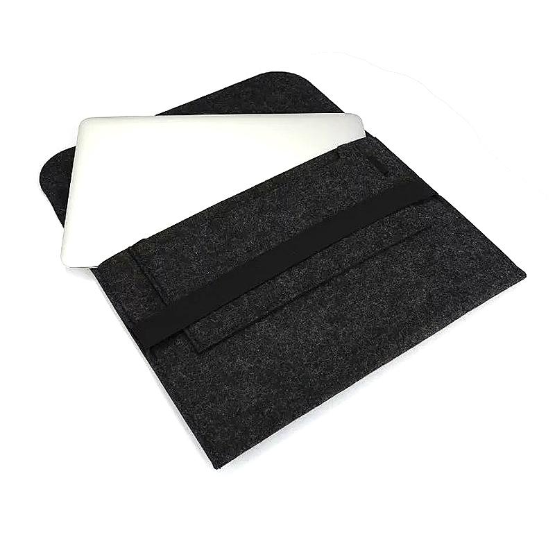 11 Inch Fashion Horizontal Open Felt Sleeve Laptop Case Cover Bag for MacBook - Black