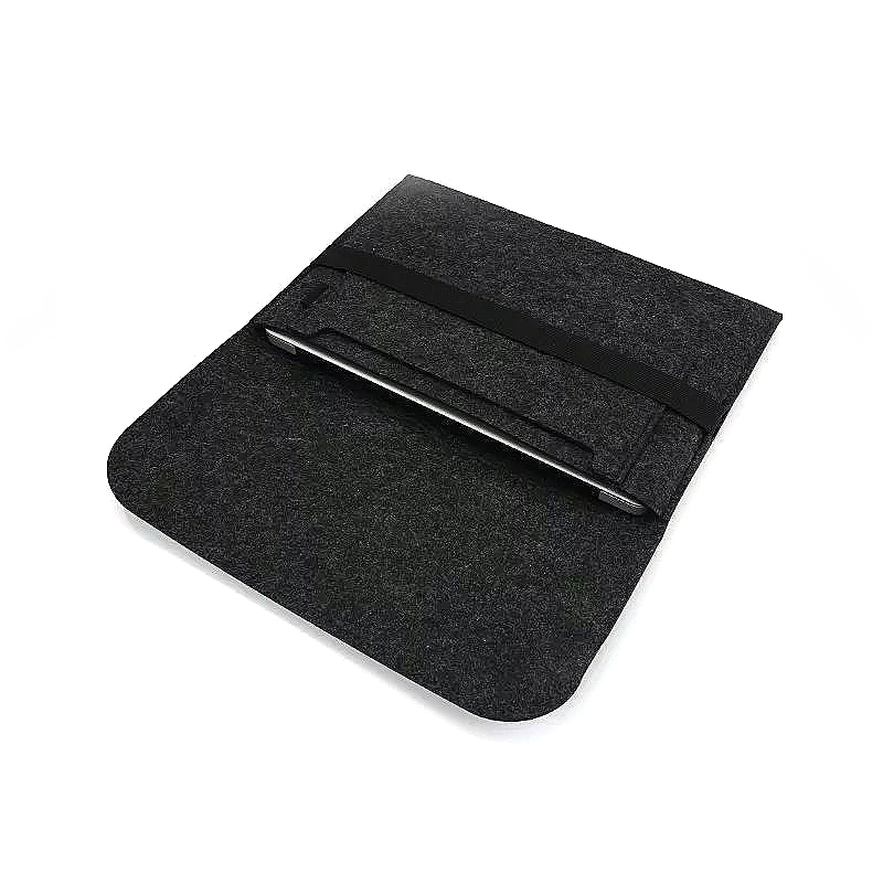 11 Inch Fashion Horizontal Open Felt Sleeve Laptop Case Cover Bag for MacBook - Black