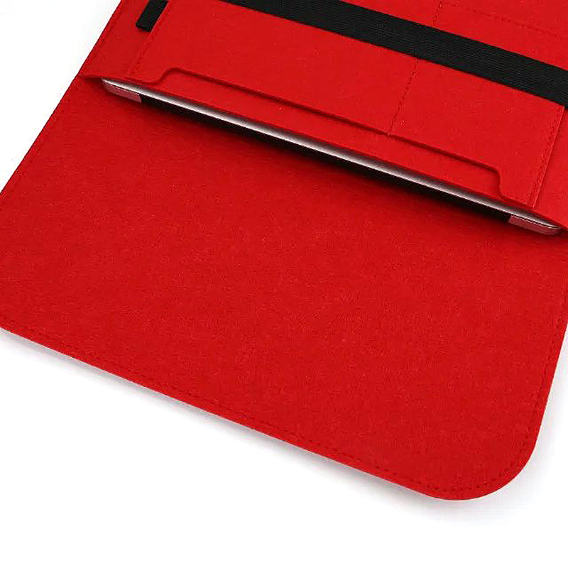 11 Inch Fashion Horizontal Open Felt Sleeve Laptop Case Cover Bag for MacBook - Red