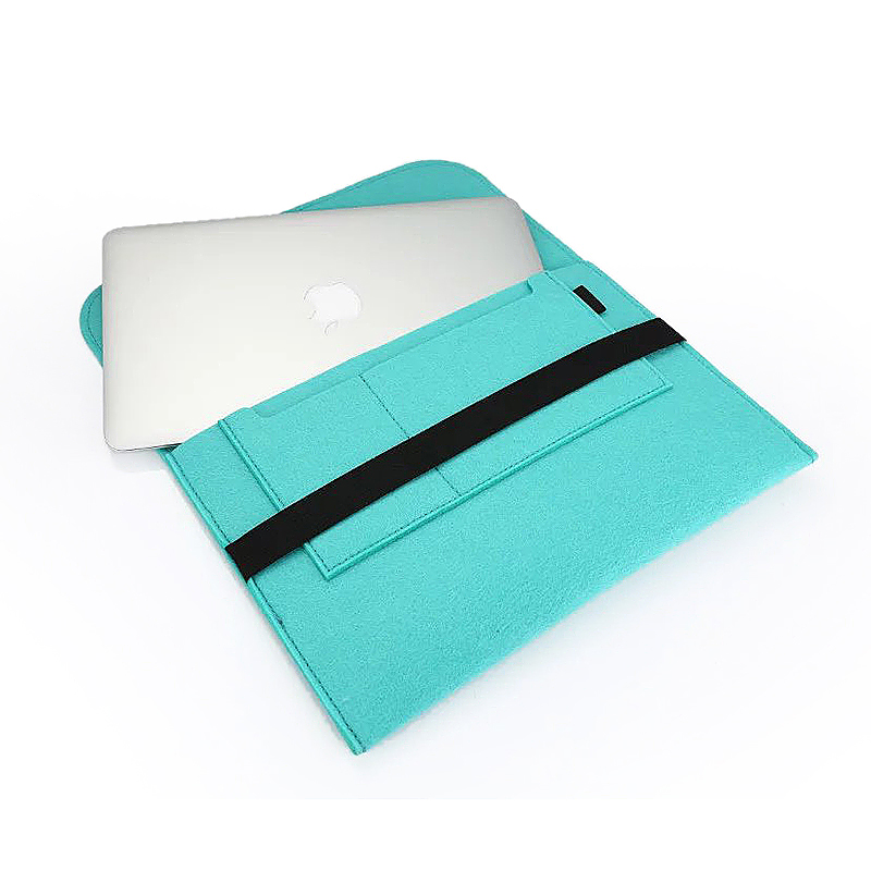 13 Inch Fashion Horizontal Open Felt Sleeve Laptop Case Cover Bag for MacBook - Mint Green