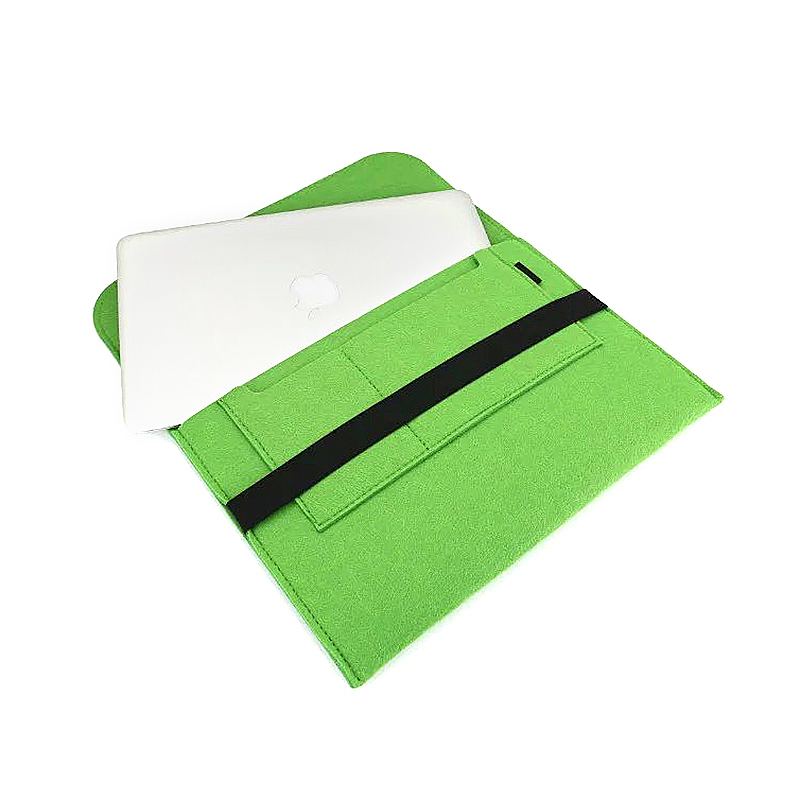 13 Inch Fashion Horizontal Open Felt Sleeve Laptop Case Cover Bag for MacBook - Green