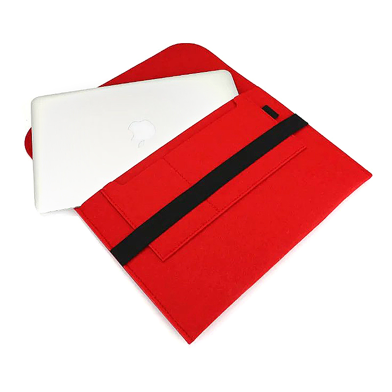 13 Inch Fashion Horizontal Open Felt Sleeve Laptop Case Cover Bag for MacBook - Red