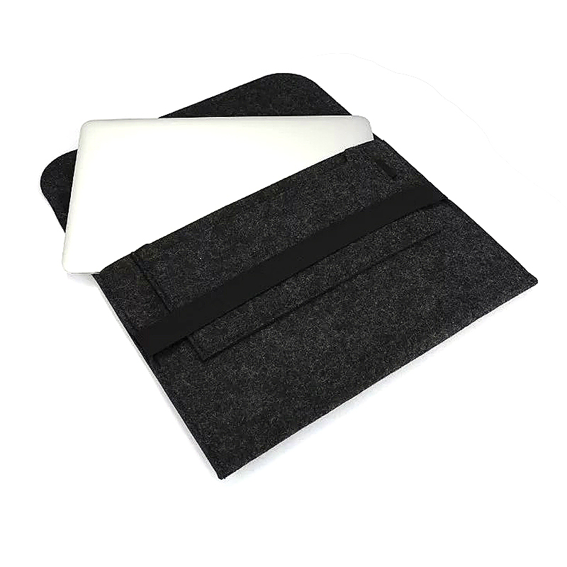 15 Inch Fashion Horizontal Open Felt Sleeve Laptop Case Cover Bag for MacBook - Black
