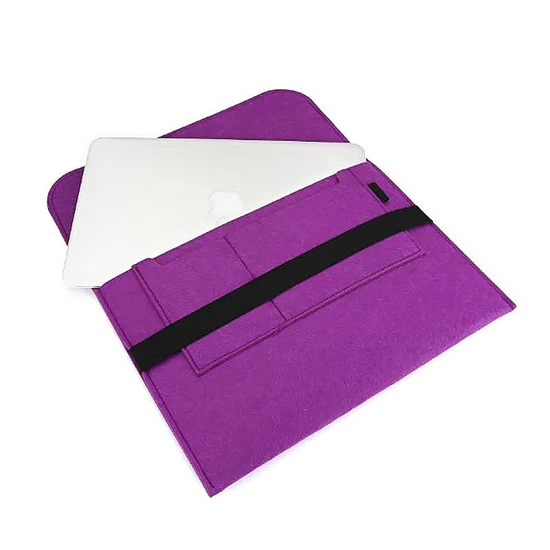 15 Inch Fashion Horizontal Open Felt Sleeve Laptop Case Cover Bag for MacBook - Purple